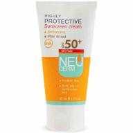 کرم ضد آفتاب فاقد چربی نئودرم SPF50 رنگ بژ روشن مناسب پوست نرمال تا خشک حجم 50 میلی لیتر